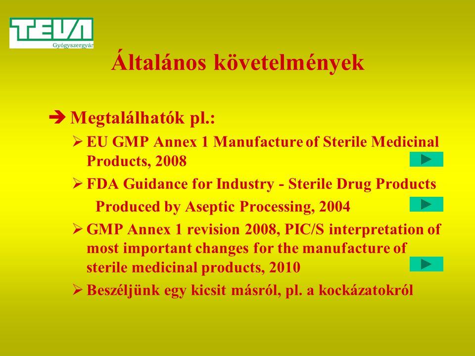 Általános követelmények  Megtalálhatók pl.:  EU GMP Annex 1 Manufacture of Sterile Medicinal Products, 2008  FDA Guidance for Industry - Sterile Dr