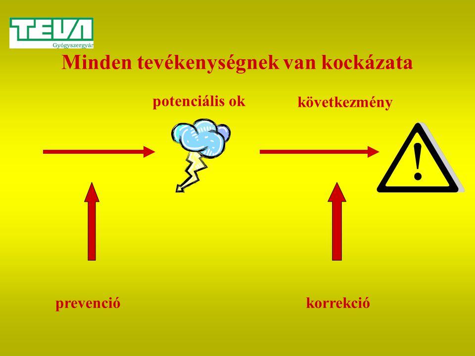 Minden tevékenységnek van kockázata prevenciókorrekció potenciális ok következmény
