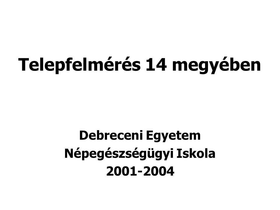 A felmérés módszertana Kérdőív, településlisták, koordináció, adatbevitel, –feldolgozás, –ellenőrzés, adatelemzés: Népegészségügyi Iskola Kérdezőbiztosok toborzása, terepmunka: Cigány Vezetők Szakmai Egyesülete Időtartam: 2001.