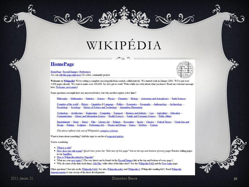 WIKIPÉDIA 2011. június 21.Damokos Bence 10