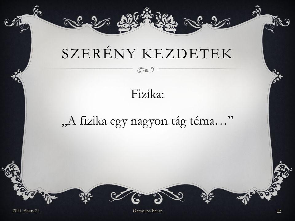 """SZERÉNY KEZDETEK Fizika: """"A fizika egy nagyon tág téma… 2011. június 21.Damokos Bence 12"""