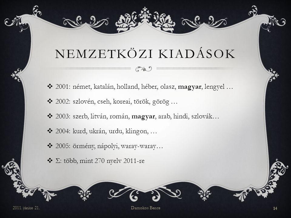 NEMZETKÖZI KIADÁSOK  2001: német, katalán, holland, héber, olasz, magyar, lengyel …  2002: szlovén, cseh, koreai, török, görög …  2003: szerb, litv