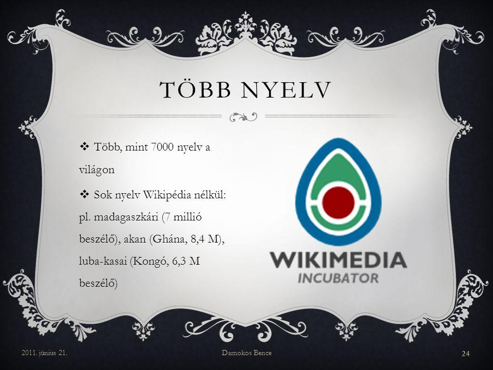  Több, mint 7000 nyelv a világon  Sok nyelv Wikipédia nélkül: pl.