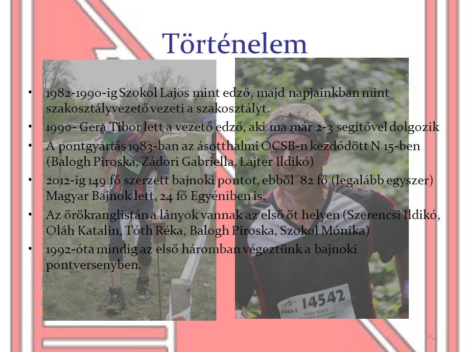Történelem •1982-1990-ig Szokol Lajos mint edző, majd napjainkban mint szakosztályvezető vezeti a szakosztályt. •1990- Gera Tibor lett a vezető edző,