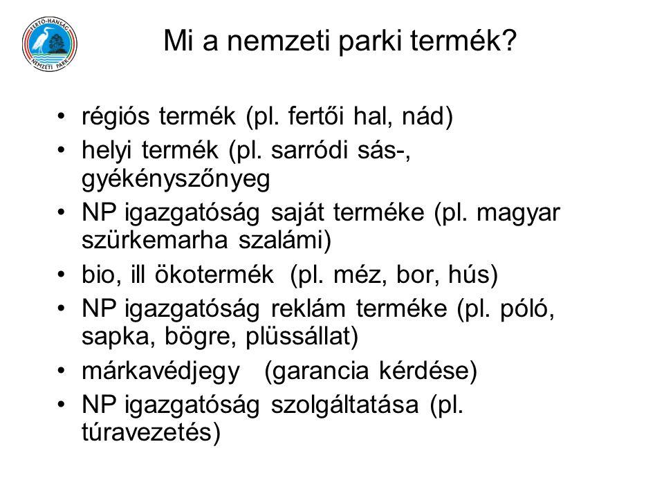 Mi a nemzeti parki termék? •régiós termék (pl. fertői hal, nád) •helyi termék (pl. sarródi sás-, gyékényszőnyeg •NP igazgatóság saját terméke (pl. mag