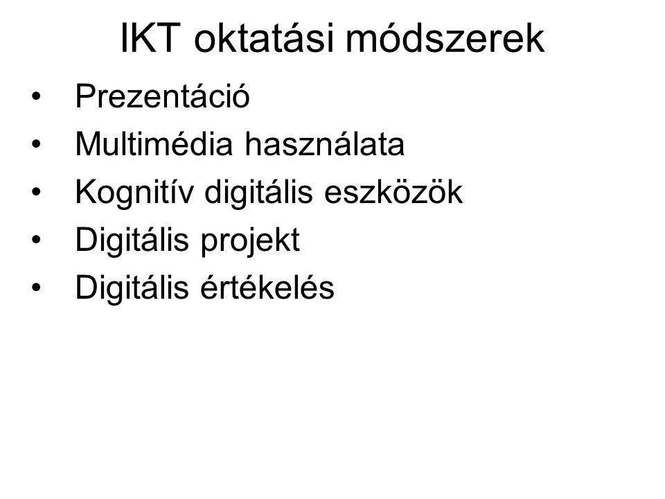 IKT oktatási módszerek •Prezentáció •Multimédia használata •Kognitív digitális eszközök •Digitális projekt •Digitális értékelés