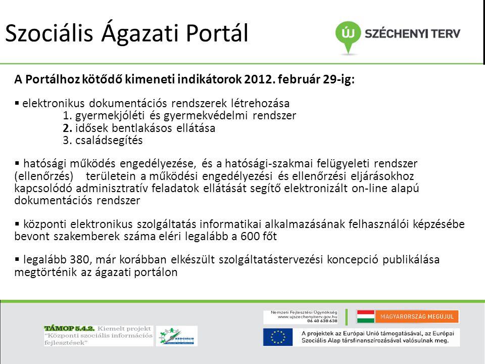 Szociális Ágazati Portál A Portálhoz kötődő egyéb indikátorok 2012.