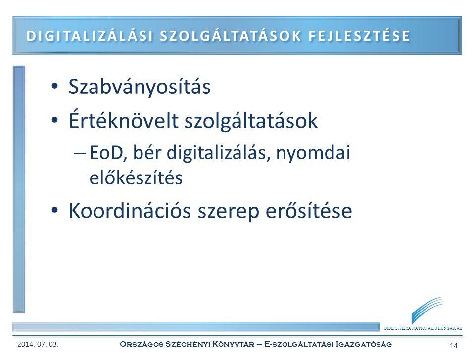 BIBLIOTHECA NATIONALIS HUNGARIAE • Szabványosítás • Értéknövelt szolgáltatások – EoD, bér digitalizálás, nyomdai előkészítés • Koordinációs szerep erő