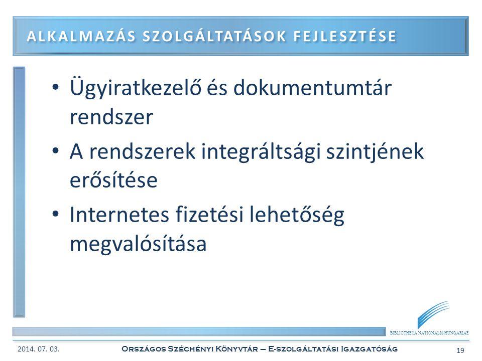 BIBLIOTHECA NATIONALIS HUNGARIAE • Ügyiratkezelő és dokumentumtár rendszer • A rendszerek integráltsági szintjének erősítése • Internetes fizetési leh