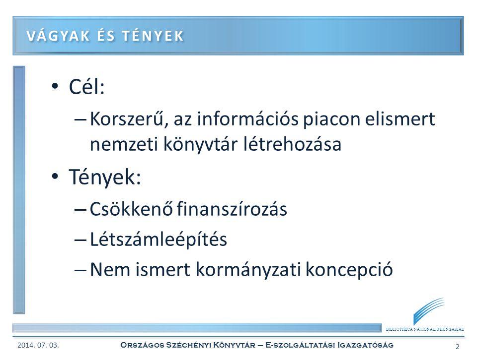 BIBLIOTHECA NATIONALIS HUNGARIAE • A digitalizálási szolgáltatások egységességének és folyamatosságának biztosítása – Egy workflow, centralizálás • A digitalizálási eszközpark bővítése • Digitalizálási munkafolyamatok elektronizálása és védelme DIGITALIZÁLÁSI SZOLGÁLTATÁSOK FEJLESZTÉSE 2014.