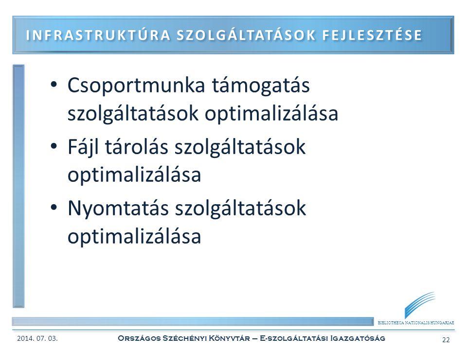 BIBLIOTHECA NATIONALIS HUNGARIAE • Csoportmunka támogatás szolgáltatások optimalizálása • Fájl tárolás szolgáltatások optimalizálása • Nyomtatás szolg