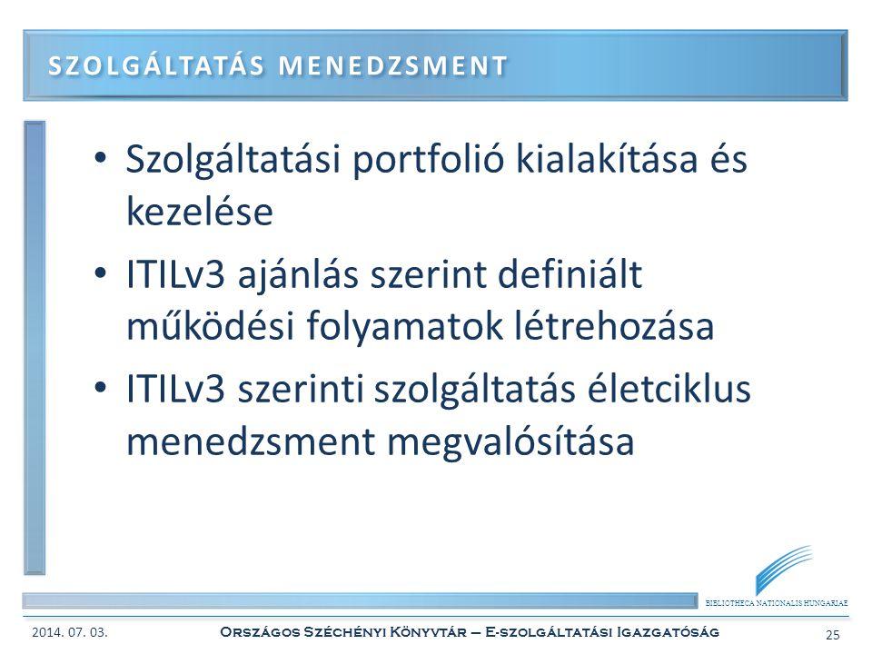 BIBLIOTHECA NATIONALIS HUNGARIAE • Szolgáltatási portfolió kialakítása és kezelése • ITILv3 ajánlás szerint definiált működési folyamatok létrehozása