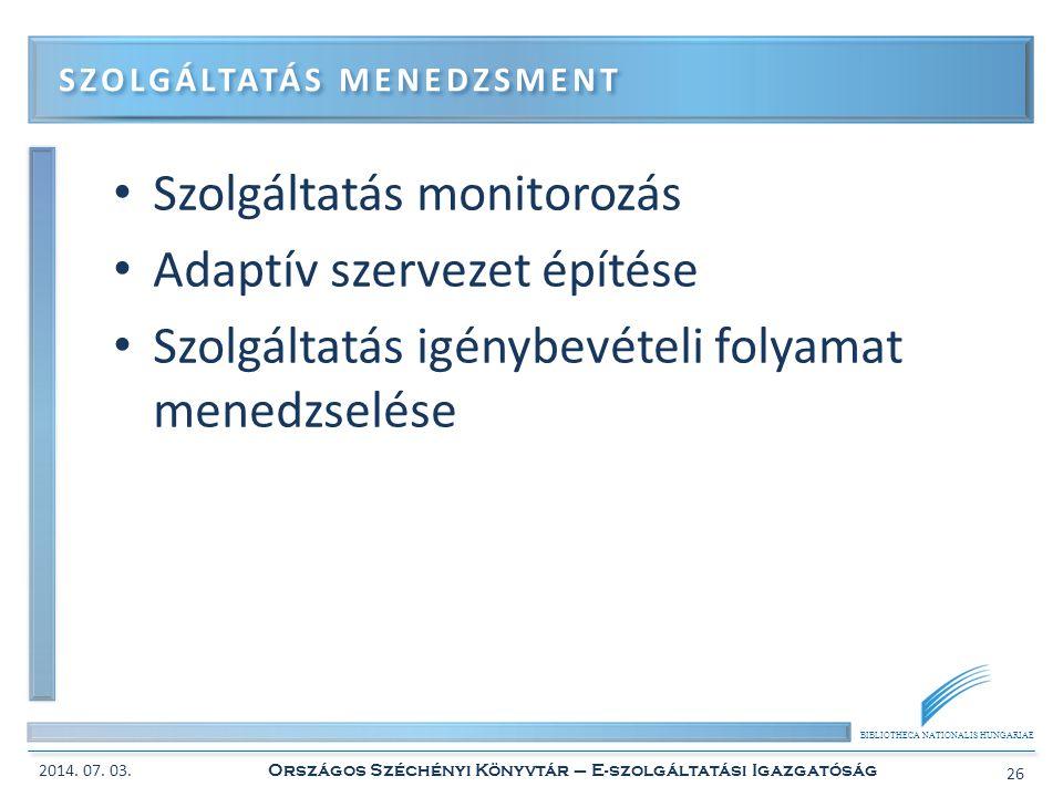 BIBLIOTHECA NATIONALIS HUNGARIAE • Szolgáltatás monitorozás • Adaptív szervezet építése • Szolgáltatás igénybevételi folyamat menedzselése SZOLGÁLTATÁ