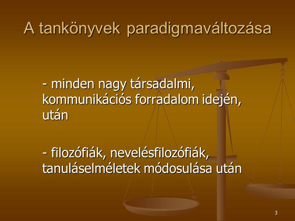 3 A tankönyvek paradigmaváltozása - minden nagy társadalmi, kommunikációs forradalom idején, után - filozófiák, nevelésfilozófiák, tanuláselméletek módosulása után