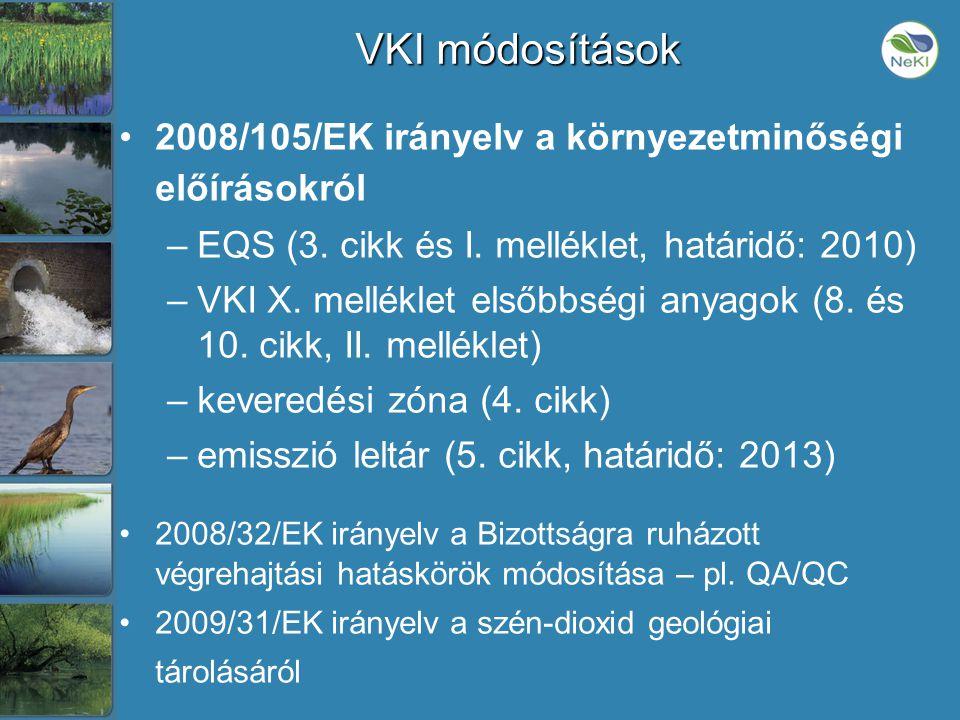 VKI módosítások •2008/105/EK irányelv a környezetminőségi előírásokról –EQS (3.