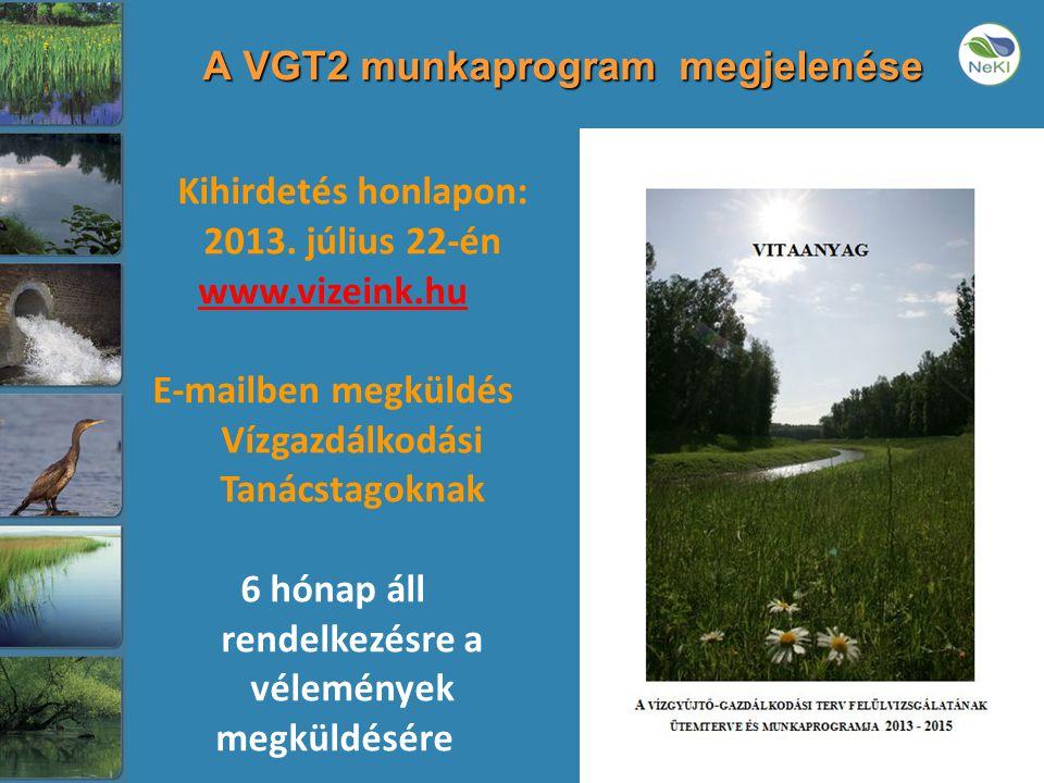 A VGT2 munkaprogram megjelenése Kihirdetés honlapon: 2013.