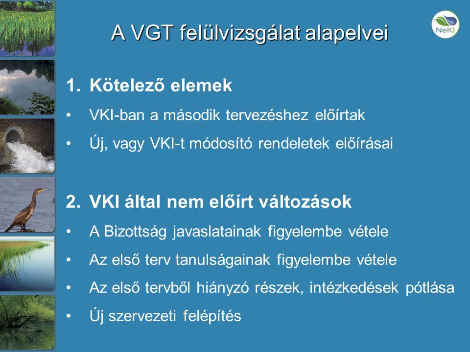 A VGT felülvizsgálat alapelvei 1.Kötelező elemek •VKI-ban a második tervezéshez előírtak •Új, vagy VKI-t módosító rendeletek előírásai 2.VKI által nem előírt változások •A Bizottság javaslatainak figyelembe vétele •Az első terv tanulságainak figyelembe vétele •Az első tervből hiányzó részek, intézkedések pótlása •Új szervezeti felépítés
