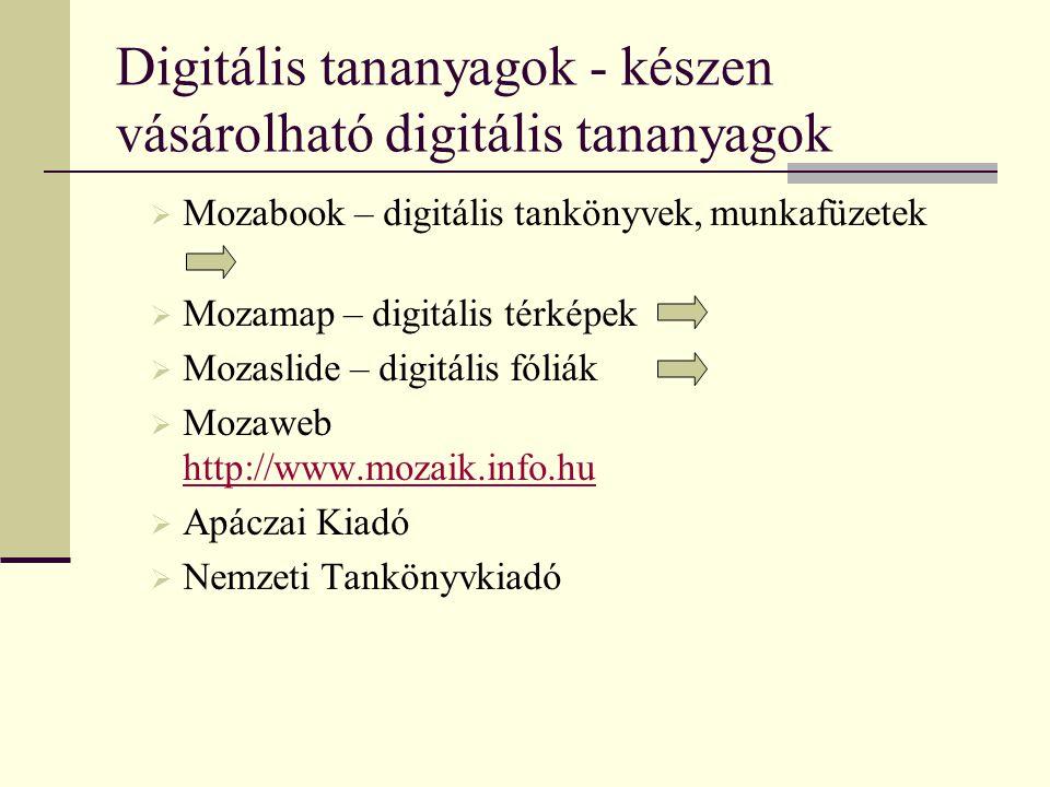 Digitális tananyagok - készen vásárolható digitális tananyagok  Mozabook – digitális tankönyvek, munkafüzetek  Mozamap – digitális térképek  Mozasl