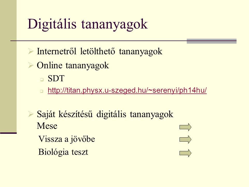 Digitális tananyagok  Internetről letölthető tananyagok  Online tananyagok  SDT  http://titan.physx.u-szeged.hu/~serenyi/ph14hu/ http://titan.phys