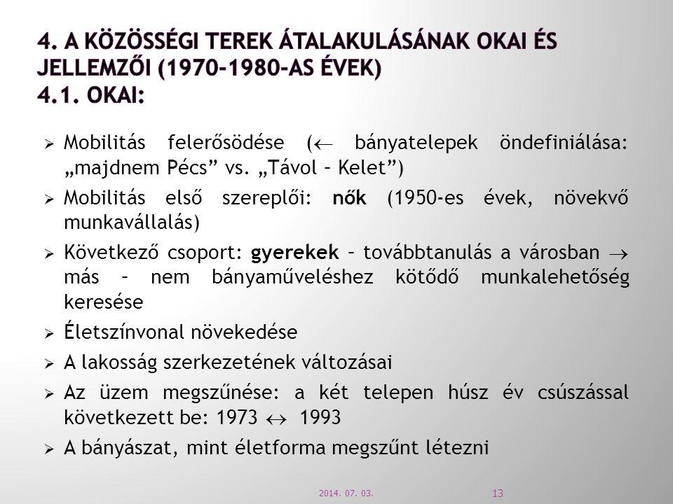 """ Mobilitás felerősödése (  bányatelepek öndefiniálása: """"majdnem Pécs"""" vs. """"Távol – Kelet"""")  Mobilitás első szereplői: nők (1950-es évek, növekvő mu"""