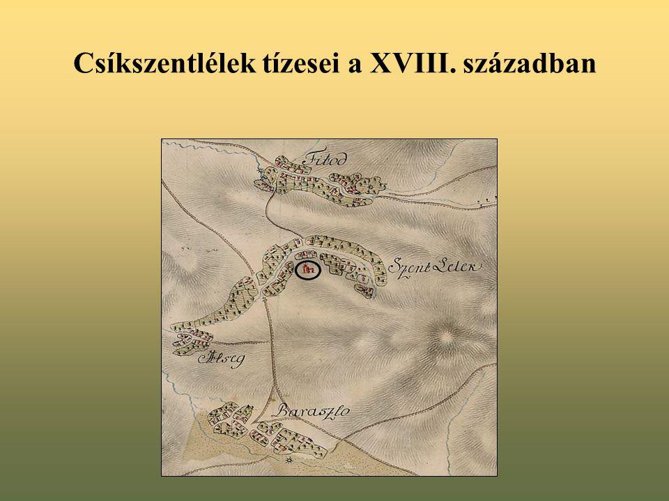 Csíkszentlélek tízesei a XVIII. században