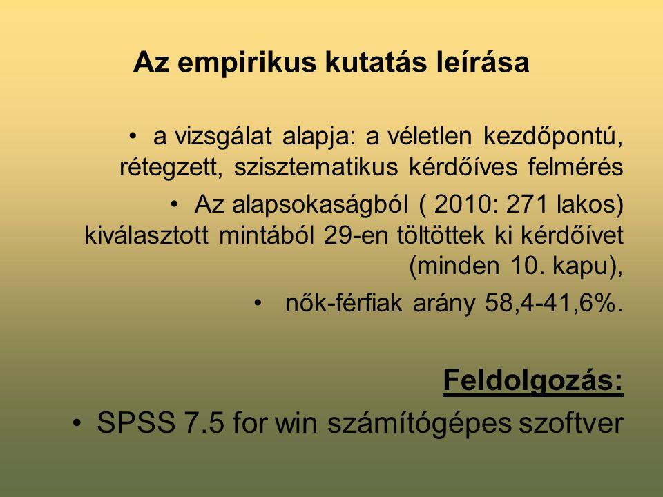 Az empirikus kutatás leírása •a vizsgálat alapja: a véletlen kezdőpontú, rétegzett, szisztematikus kérdőíves felmérés •Az alapsokaságból ( 2010: 271 l