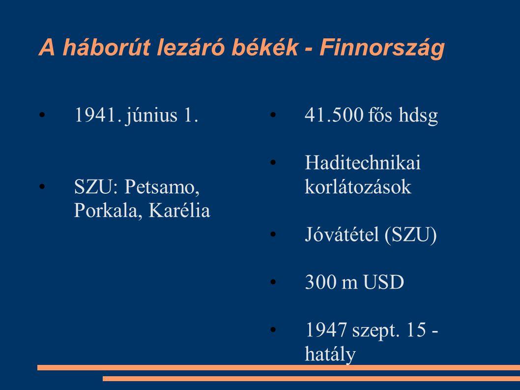 A háborút lezáró békék - Finnország •1941. június 1. •SZU: Petsamo, Porkala, Karélia •41.500 fős hdsg •Haditechnikai korlátozások •Jóvátétel (SZU) •30