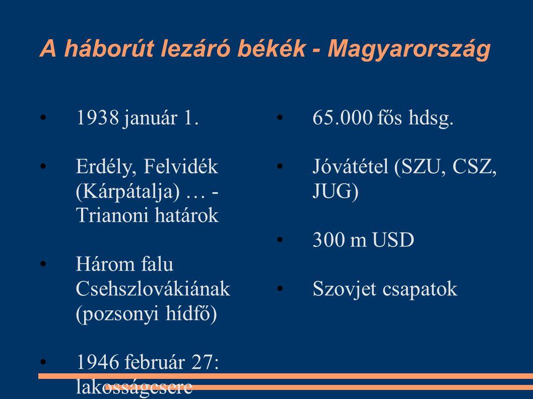 A háborút lezáró békék - Magyarország •1938 január 1. •Erdély, Felvidék (Kárpátalja) … - Trianoni határok •Három falu Csehszlovákiának (pozsonyi hídfő