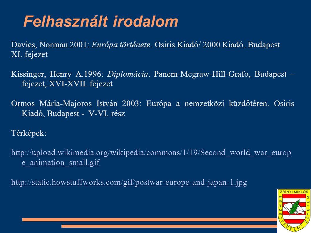 Felhasznált irodalom Davies, Norman 2001: Európa története. Osiris Kiadó/ 2000 Kiadó, Budapest XI. fejezet Kissinger, Henry A.1996: Diplomácia. Panem-