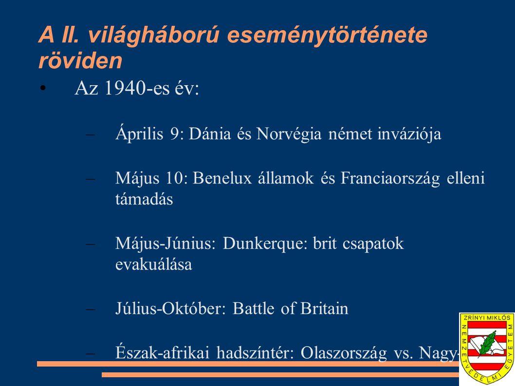 A II. világháború eseménytörténete röviden •Az 1940-es év: –Április 9: Dánia és Norvégia német inváziója –Május 10: Benelux államok és Franciaország e