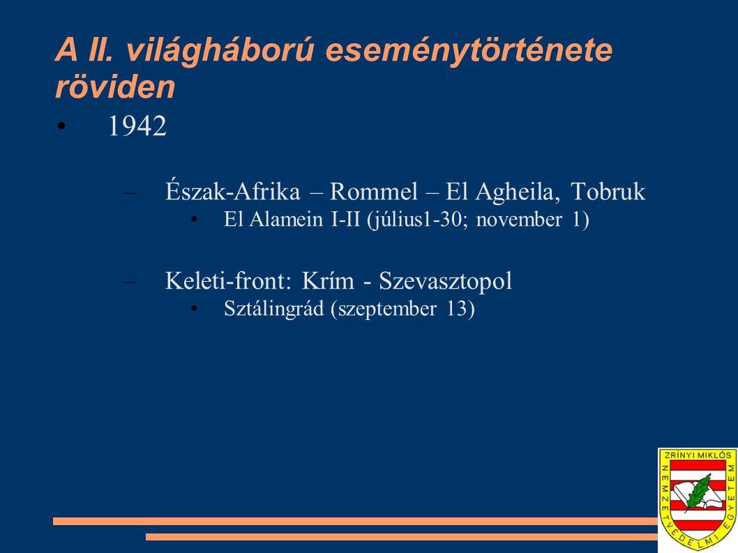 A II. világháború eseménytörténete röviden •1942 –Észak-Afrika – Rommel – El Agheila, Tobruk •El Alamein I-II (július1-30; november 1) –Keleti-front: