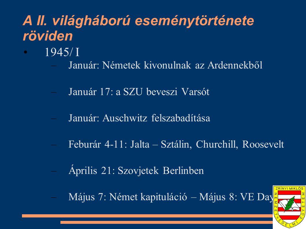 A II. világháború eseménytörténete röviden •1945/ I –Január: Németek kivonulnak az Ardennekből –Január 17: a SZU beveszi Varsót –Január: Auschwitz fel