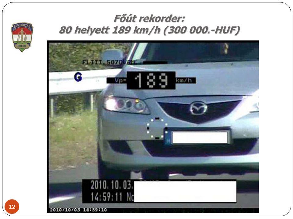 Főút rekorder: 80 helyett 189 km/h (300 000.-HUF) 12