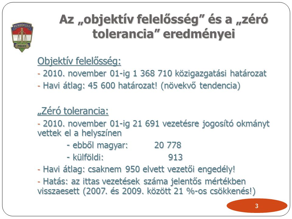 """3 Az """"objektív felelősség"""" és a """"zéró tolerancia"""" eredményei Objektív felelősség: - 2010. november 01-ig 1 368 710 közigazgatási határozat - Havi átla"""