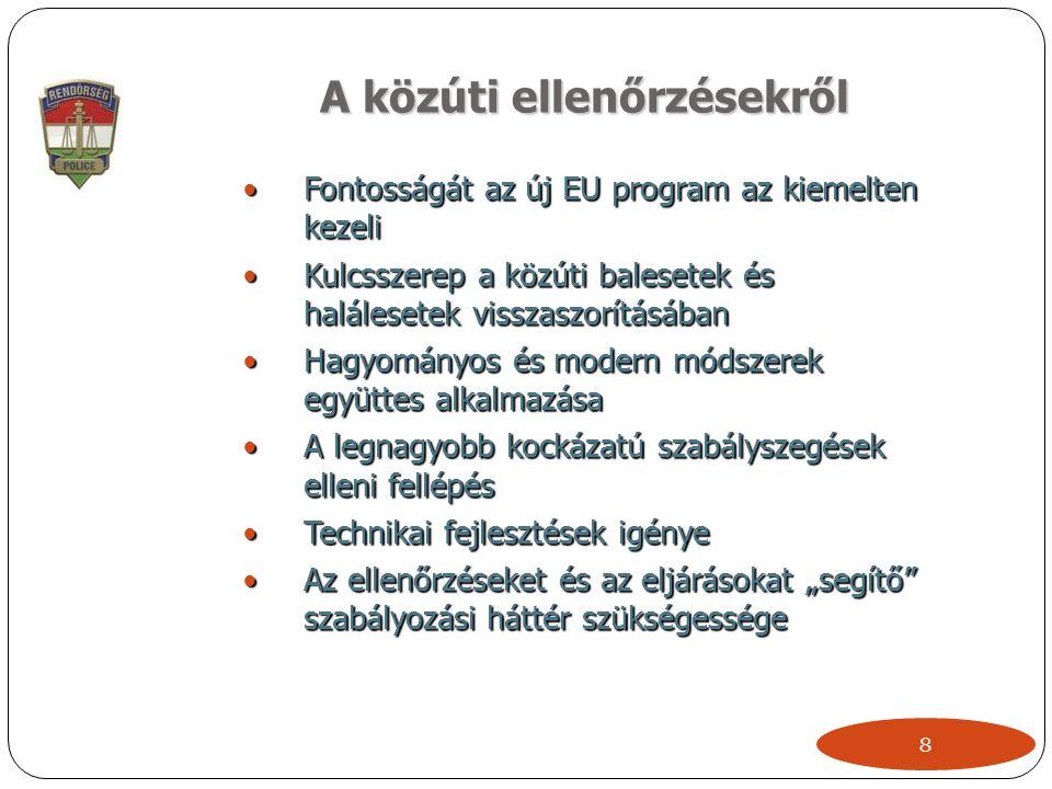 """A közúti ellenőrzésekről  Fontosságát az új EU program az kiemelten kezeli  Kulcsszerep a közúti balesetek és halálesetek visszaszorításában  Hagyományos és modern módszerek együttes alkalmazása  A legnagyobb kockázatú szabályszegések elleni fellépés  Technikai fejlesztések igénye  Az ellenőrzéseket és az eljárásokat """"segítő szabályozási háttér szükségessége 8"""