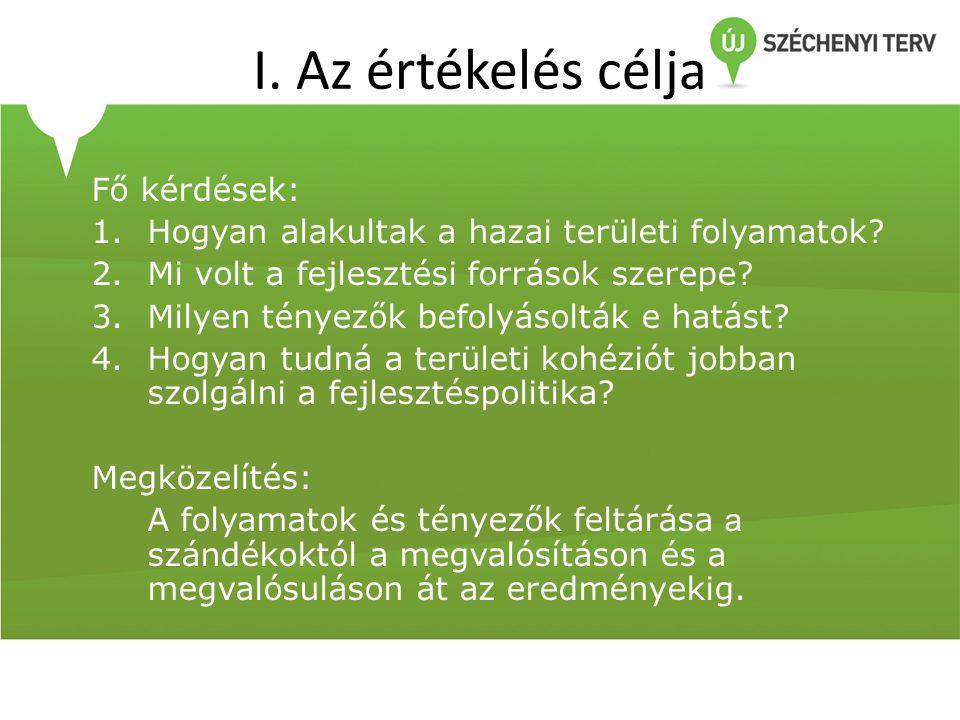 I. Az értékelés célja Fő kérdések: 1.Hogyan alakultak a hazai területi folyamatok.