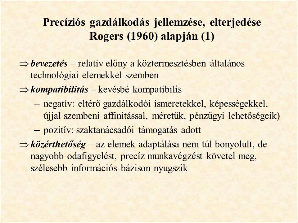 Precíziós gazdálkodás jellemzése, elterjedése Rogers (1960) alapján (1)  bevezetés – relatív előny a köztermesztésben általános technológiai elemekke