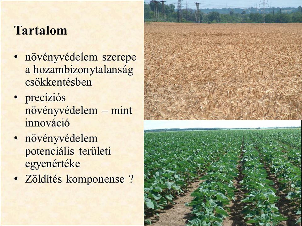 Tartalom • növényvédelem szerepe a hozambizonytalanság csökkentésben • precíziós növényvédelem – mint innováció • növényvédelem potenciális területi e
