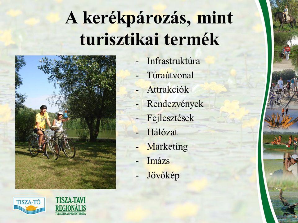 Infrastruktúra •Jelenlegi kerékpárutak •EUROVelo 11 •Alacsony forgalmú utak (?) •Szervizháttér: 2 Schwinncsepel szerviz (Kunhegyes, Tiszafüred), 27 kerékpáros túraközpont gyorsszervíz működtetéssel, alkatrészek biztosításával