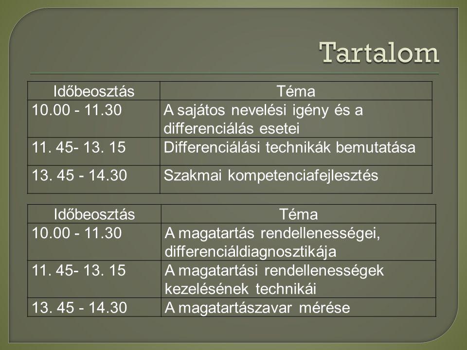 IdőbeosztásTéma 10.00 - 11.30A sajátos nevelési igény és a differenciálás esetei 11.