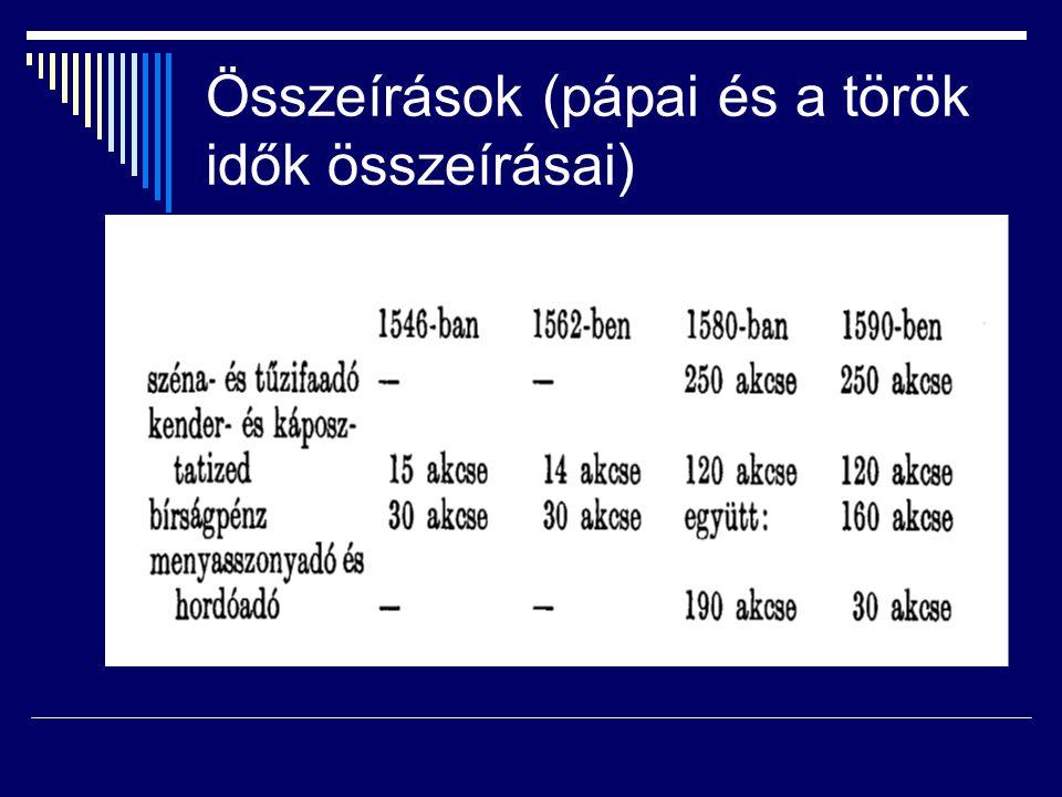 Összeírások (pápai és a török idők összeírásai)