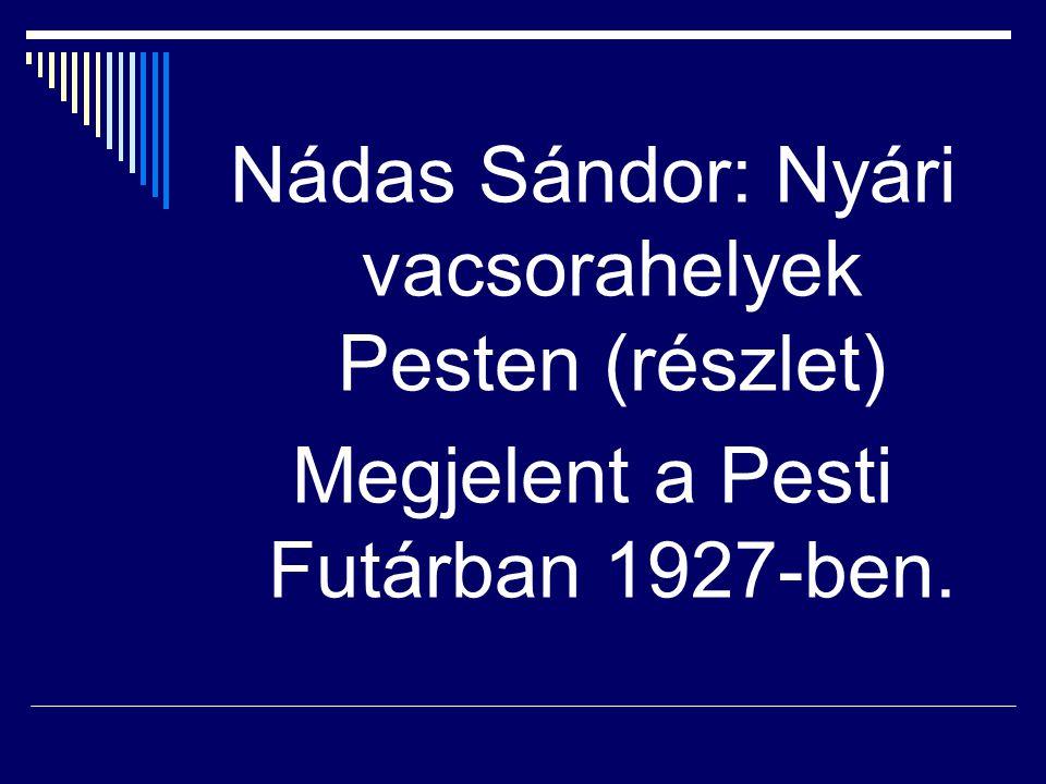Nádas Sándor: Nyári vacsorahelyek Pesten (részlet) Megjelent a Pesti Futárban 1927-ben.