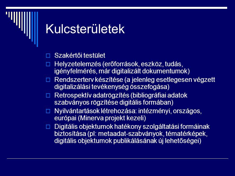 Kulcsterületek  Szakértői testület  Helyzetelemzés (erőforrások, eszköz, tudás, igényfelmérés, már digitalizált dokumentumok)  Rendszerterv készíté