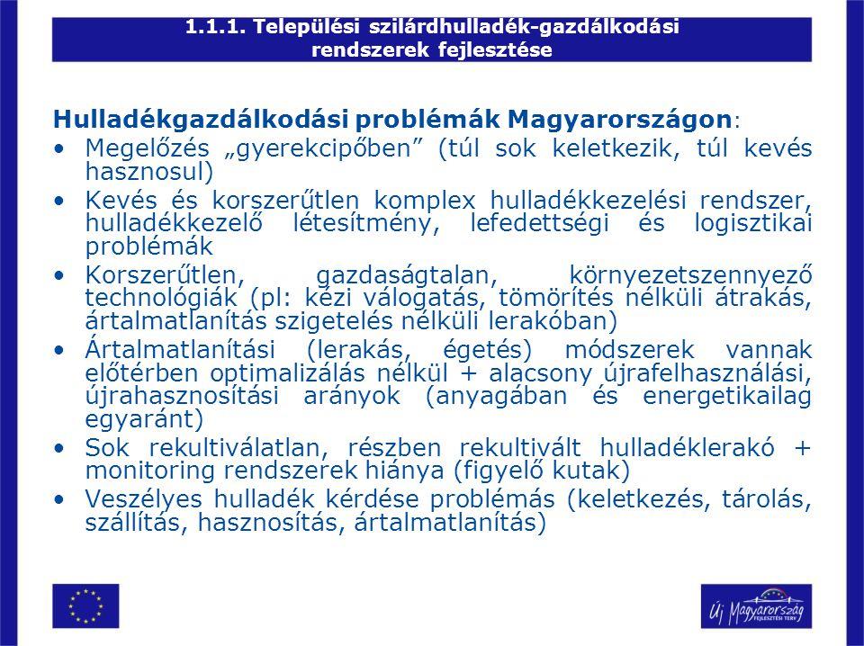 """1.1.1. Települési szilárdhulladék-gazdálkodási rendszerek fejlesztése Hulladékgazdálkodási problémák Magyarországon : •Megelőzés """"gyerekcipőben"""" (túl"""