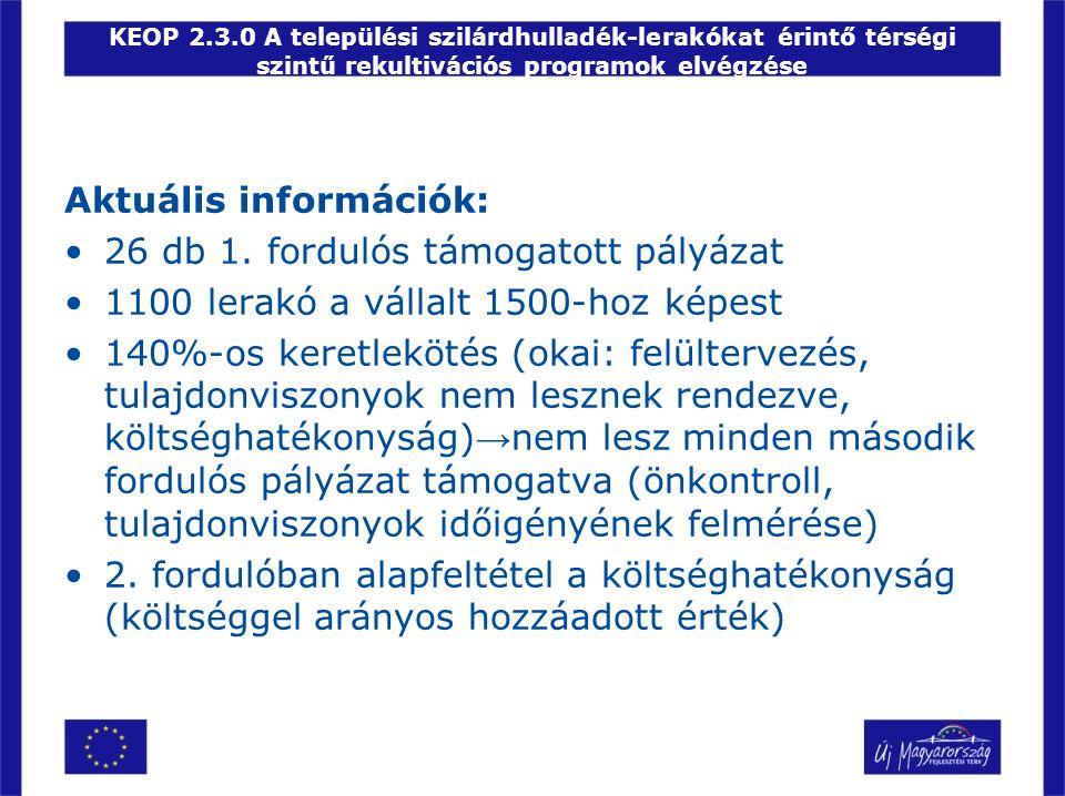 KEOP 2.3.0 A települési szilárdhulladék-lerakókat érintő térségi szintű rekultivációs programok elvégzése Aktuális információk: •26 db 1. fordulós tám