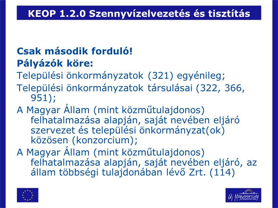 KEOP 1.2.0 Szennyvízelvezetés és tisztítás Csak második forduló! Pályázók köre: Települési önkormányzatok (321) egyénileg; Települési önkormányzatok t