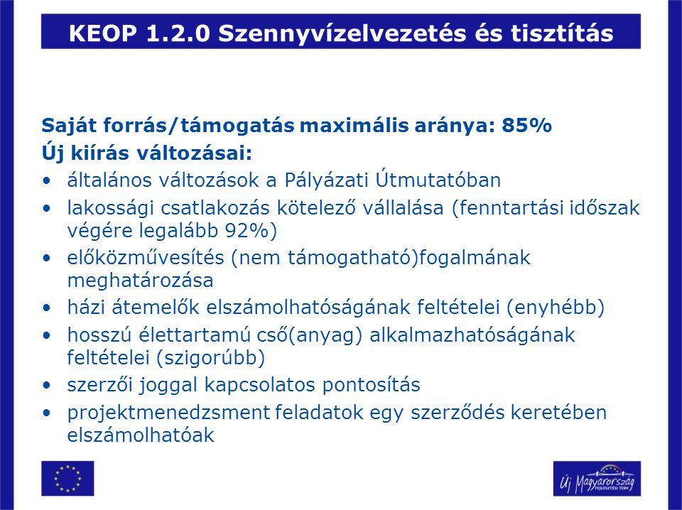 KEOP 1.2.0 Szennyvízelvezetés és tisztítás Saját forrás/támogatás maximális aránya: 85% Új kiírás változásai: •általános változások a Pályázati Útmuta