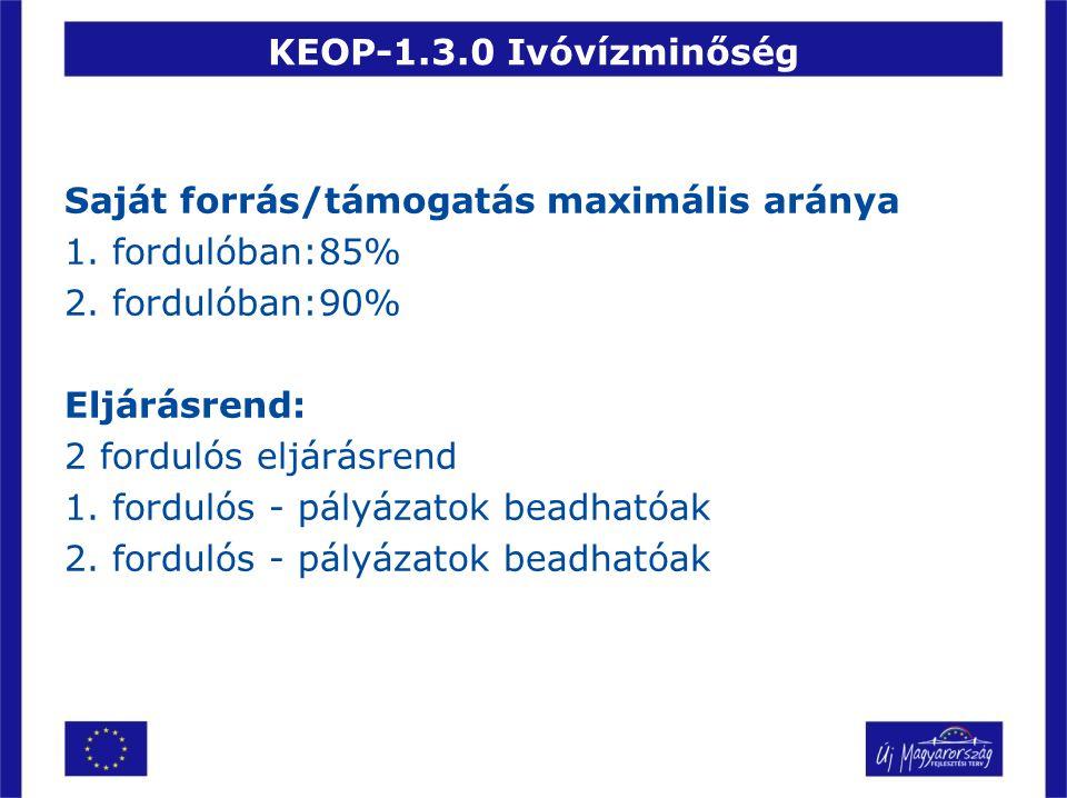 KEOP-1.3.0 Ivóvízminőség Saját forrás/támogatás maximális aránya 1. fordulóban:85% 2. fordulóban:90% Eljárásrend: 2 fordulós eljárásrend 1. fordulós -