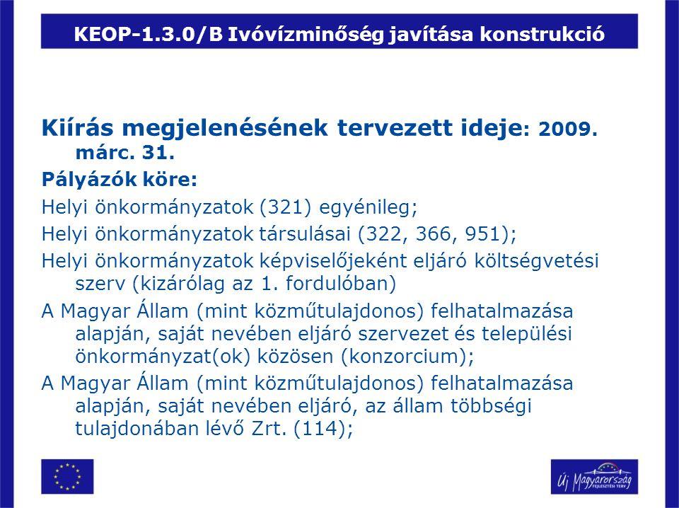 KEOP-1.3.0/B Ivóvízminőség javítása konstrukció Kiírás megjelenésének tervezett ideje : 2009. márc. 31. Pályázók köre: Helyi önkormányzatok (321) egyé