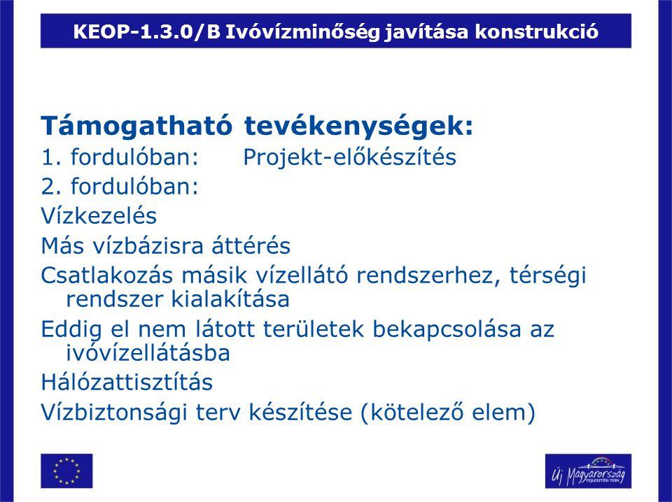 KEOP-1.3.0/B Ivóvízminőség javítása konstrukció Támogatható tevékenységek: 1. fordulóban:Projekt-előkészítés 2. fordulóban: Vízkezelés Más vízbázisra